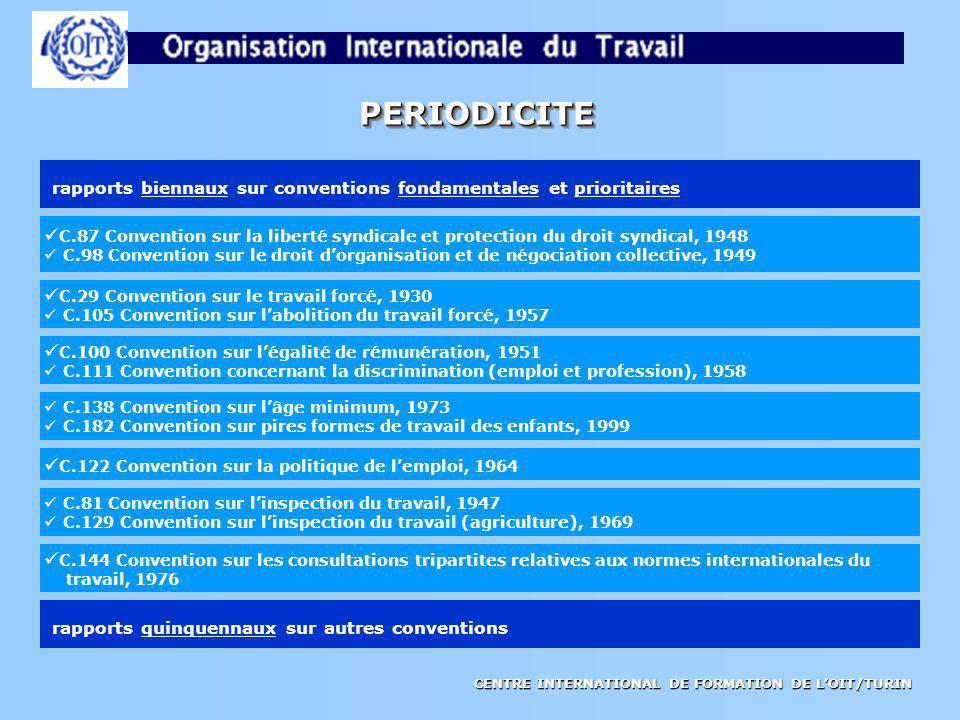 CENTRE INTERNATIONAL DE FORMATION DE LOIT/TURIN PERIODICITEPERIODICITE rapports biennaux sur conventions fondamentales et prioritaires rapports quinqu