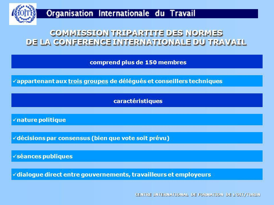 CENTRE INTERNATIONAL DE FORMATION DE LOIT/TURIN COMMISSION TRIPARTITE DES NORMES DE LA CONFERENCE INTERNATIONALE DU TRAVAIL COMMISSION TRIPARTITE DES