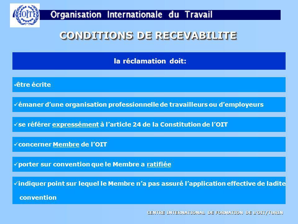 CENTRE INTERNATIONAL DE FORMATION DE LOIT/TURIN CONDITIONS DE RECEVABILITE la réclamation doit: être écrite émaner dune organisation professionnelle d