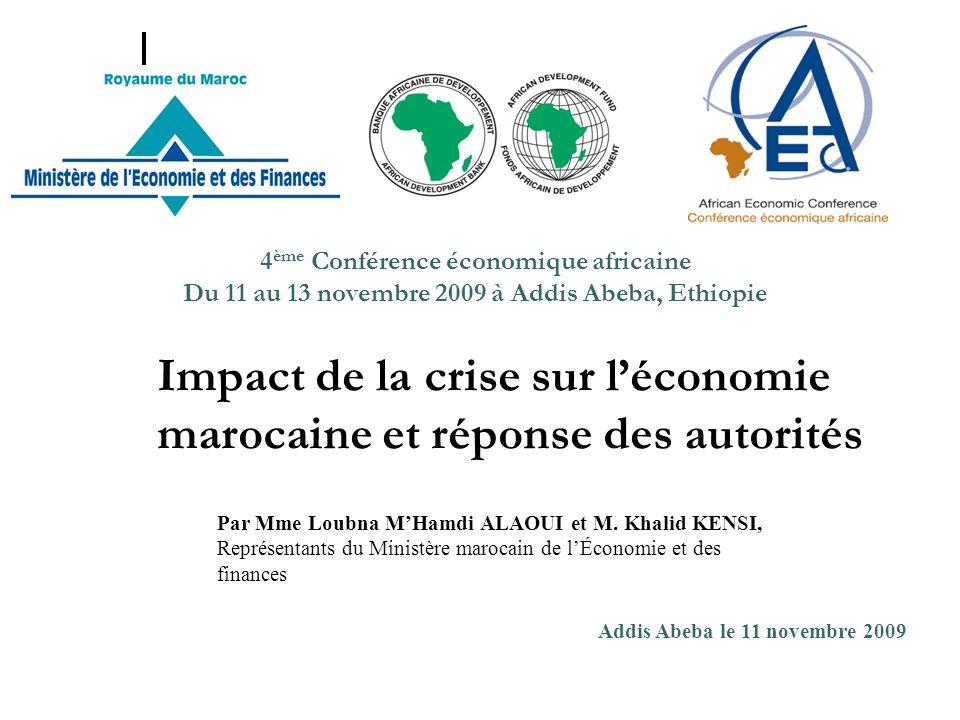 Impact de la crise sur léconomie marocaine et réponse des autorités Par Mme Loubna MHamdi ALAOUI et M. Khalid KENSI, Représentants du Ministère maroca