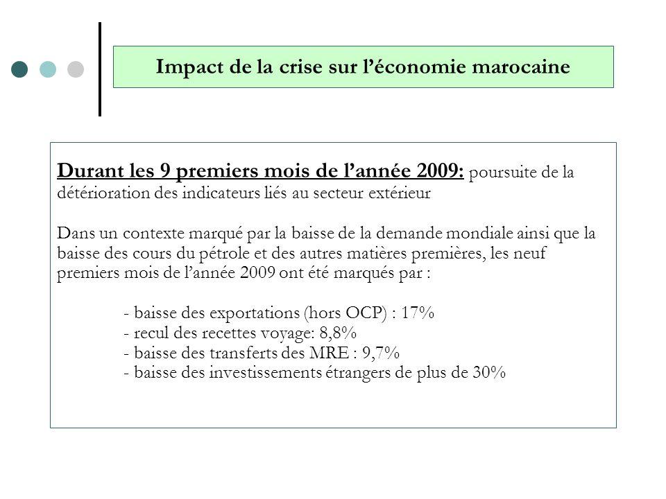 Durant les 9 premiers mois de lannée 2009: poursuite de la détérioration des indicateurs liés au secteur extérieur Dans un contexte marqué par la bais