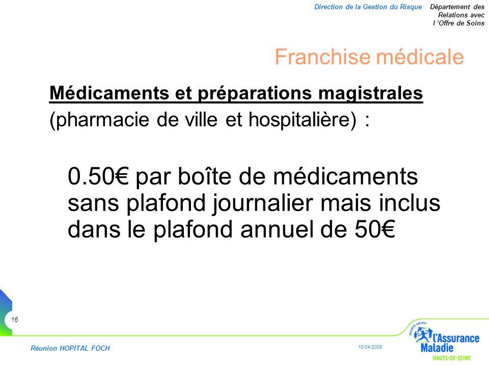 Réunion HOPITAL FOCH 10/04/2008 16 Direction de la Gestion du Risque Département des Relations avec l Offre de Soins Franchise médicale Médicaments et