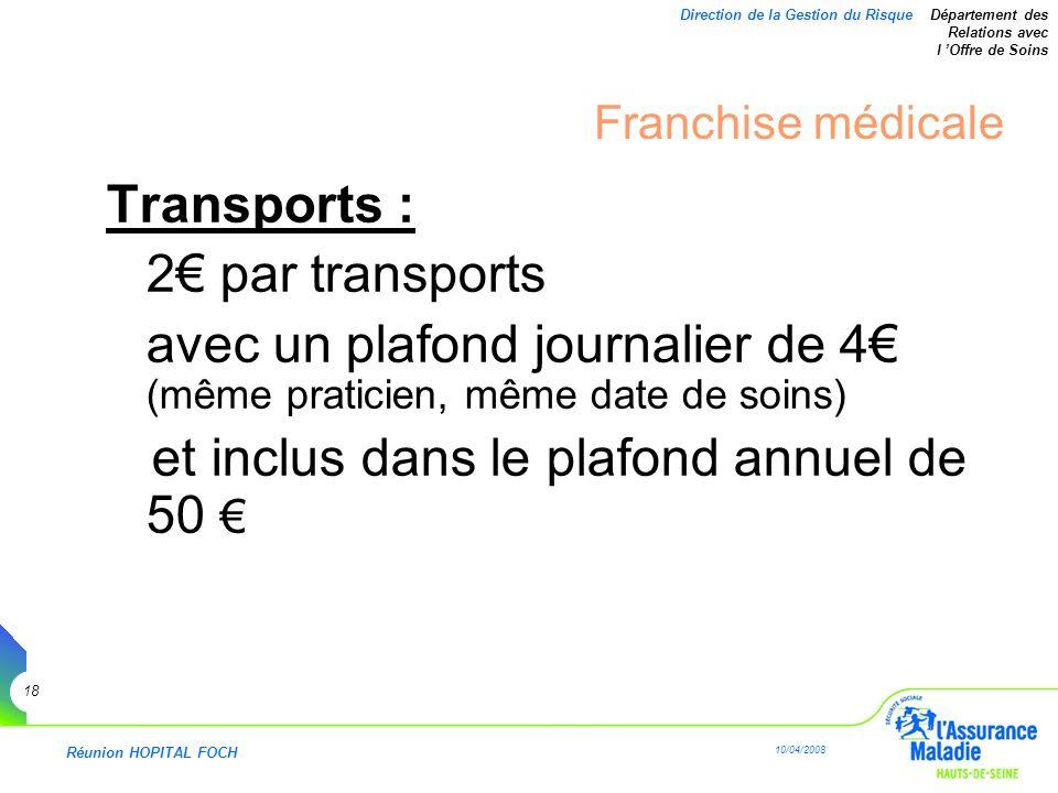 Réunion HOPITAL FOCH 10/04/2008 18 Direction de la Gestion du Risque Département des Relations avec l Offre de Soins Franchise médicale Transports : 2