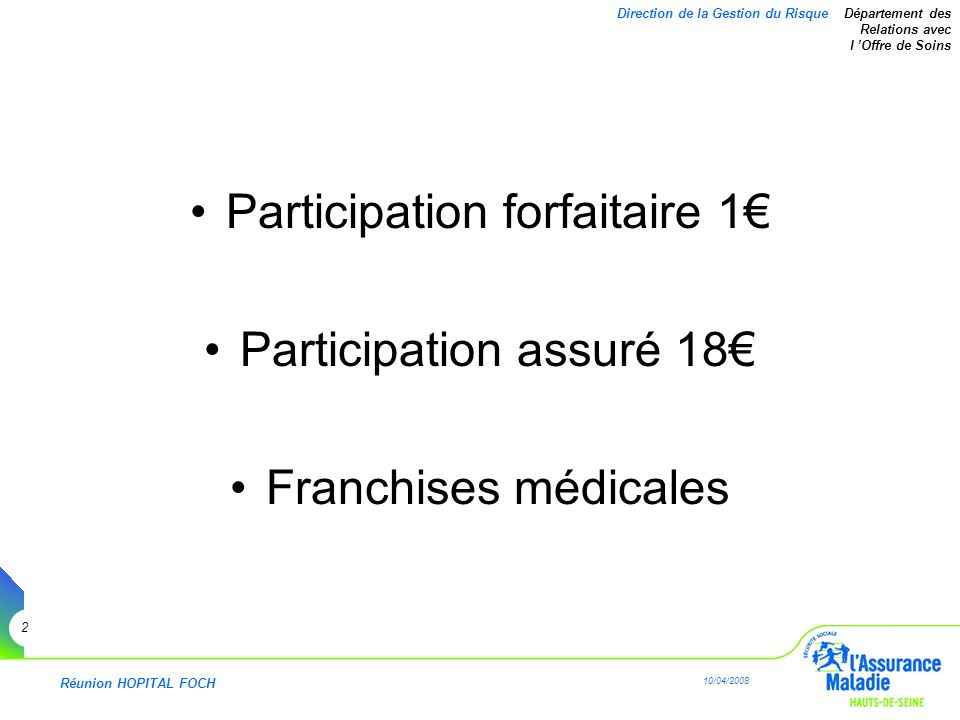 Réunion HOPITAL FOCH 10/04/2008 2 Direction de la Gestion du Risque Département des Relations avec l Offre de Soins Participation forfaitaire 1 Partic
