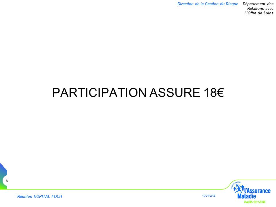Réunion HOPITAL FOCH 10/04/2008 9 Direction de la Gestion du Risque Département des Relations avec l Offre de Soins Participation Assuré 18 SUR QUOI .