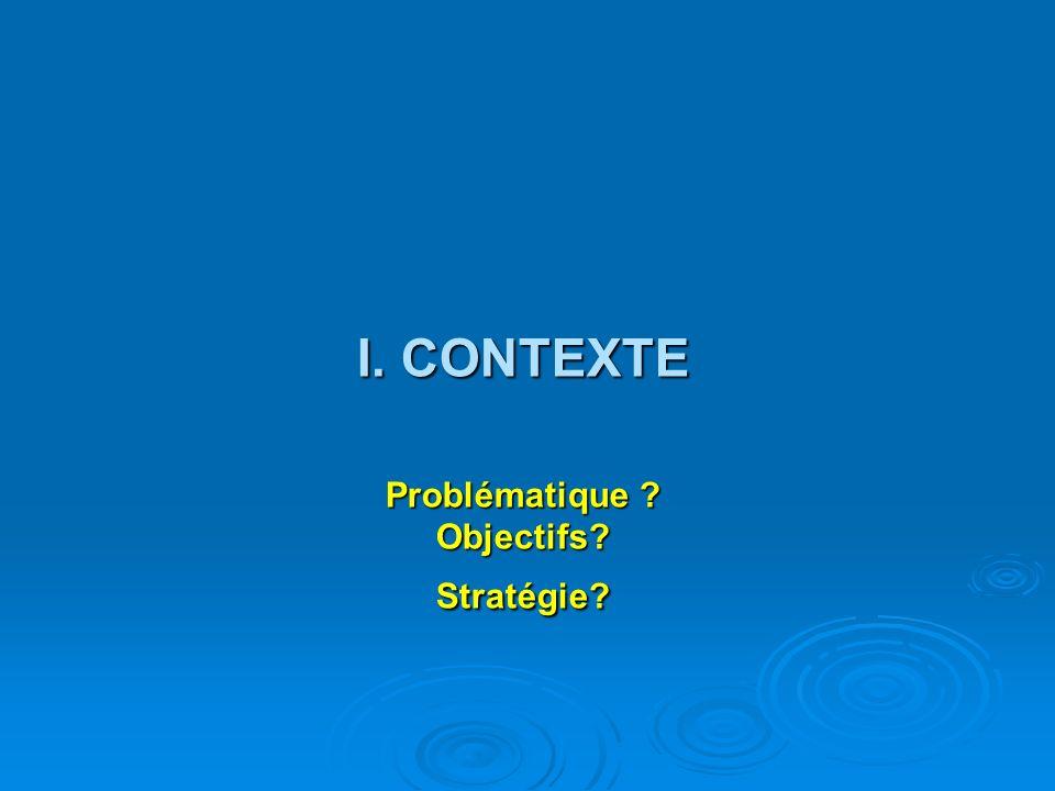 I. CONTEXTE Problématique ? Objectifs? Stratégie?