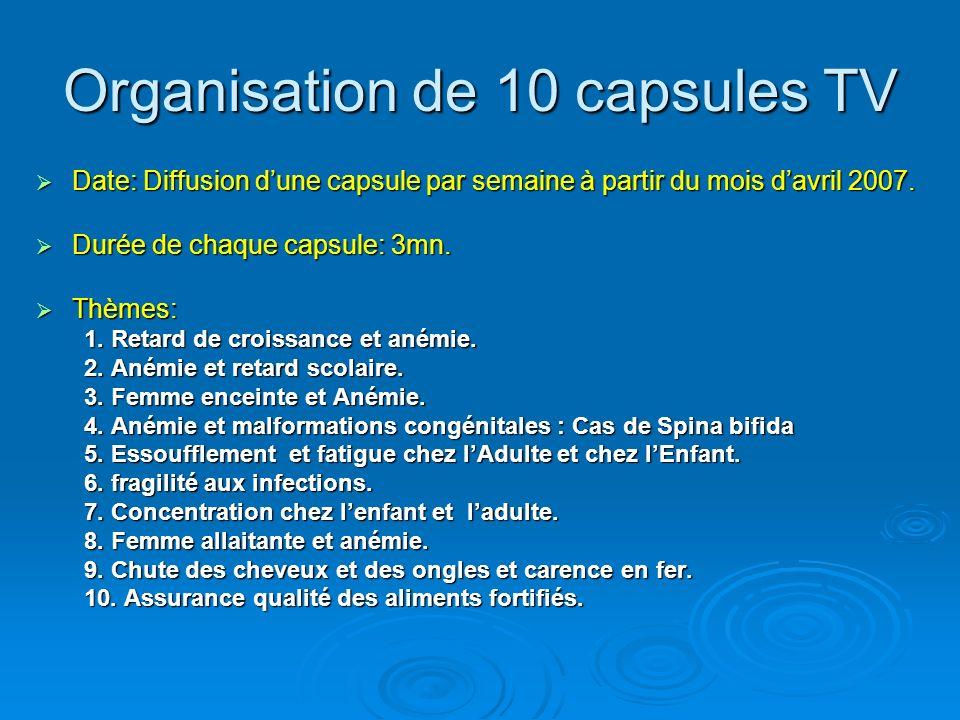 Organisation de 10 capsules TV Date: Diffusion dune capsule par semaine à partir du mois davril 2007. Date: Diffusion dune capsule par semaine à parti