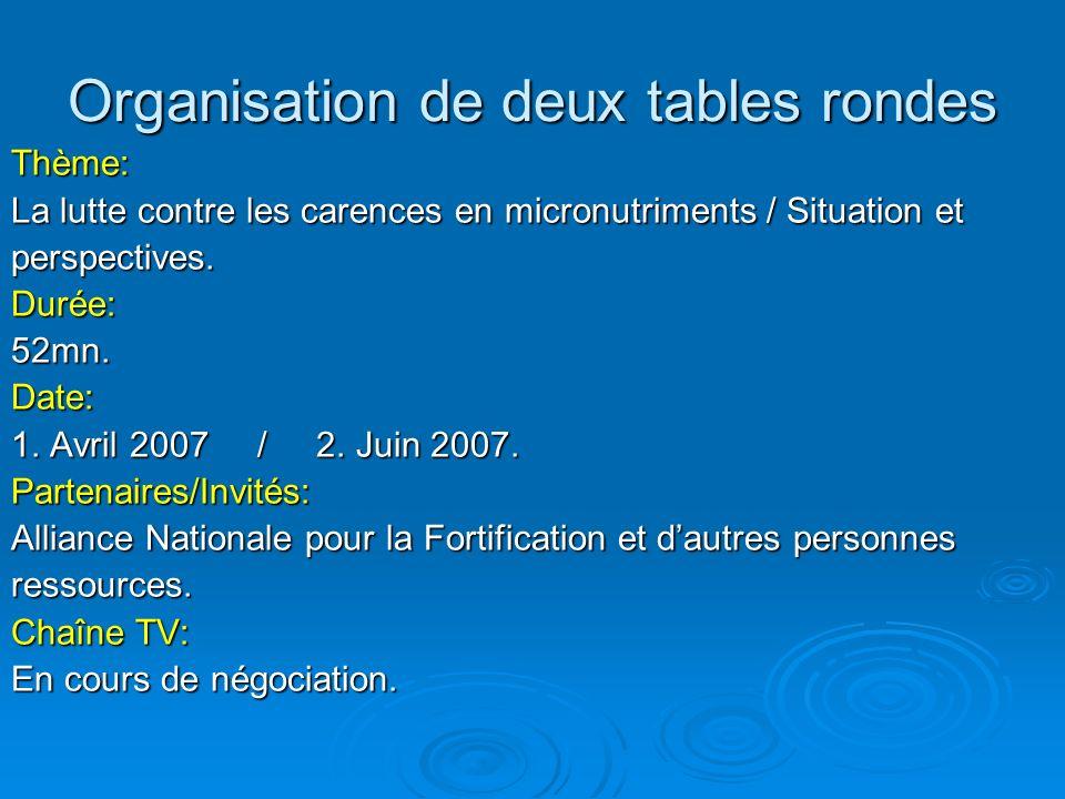 Organisation de deux tables rondes Thème: La lutte contre les carences en micronutriments / Situation et perspectives.Durée:52mn.Date: 1. Avril 2007 /