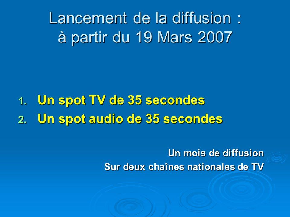 Lancement de la diffusion : à partir du 19 Mars 2007 1. Un spot TV de 35 secondes 2. Un spot audio de 35 secondes Un mois de diffusion Sur deux chaîne