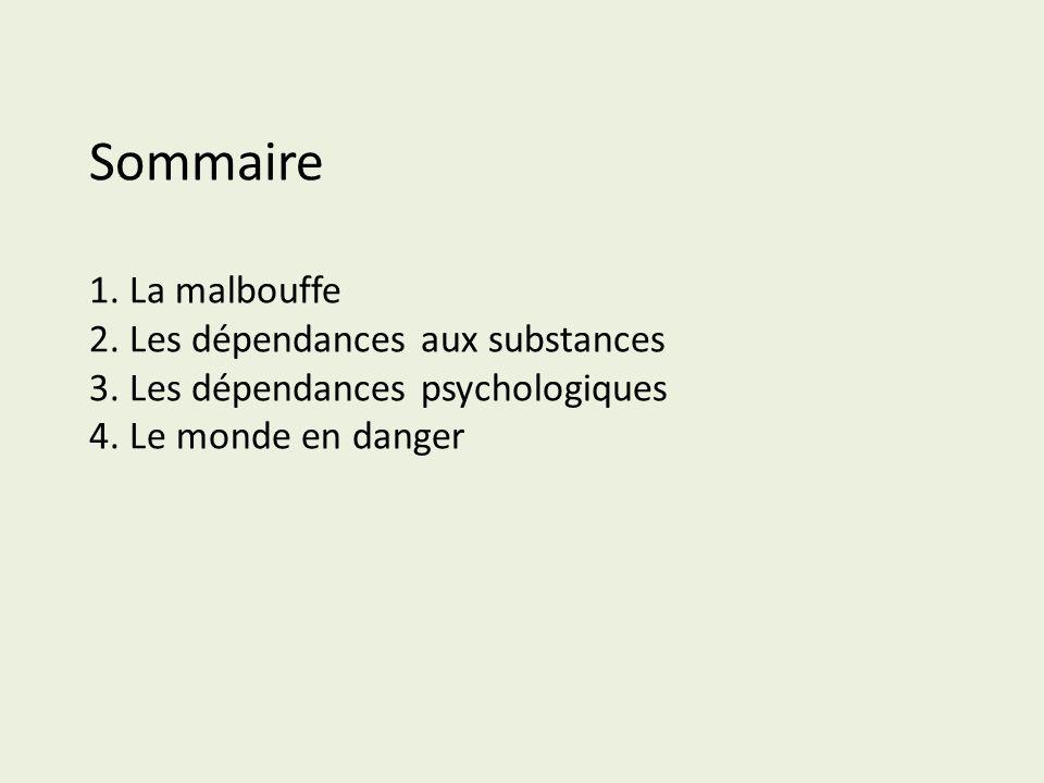 Sommaire 1. La malbouffe 2. Les dépendances aux substances 3. Les dépendances psychologiques 4. Le monde en danger
