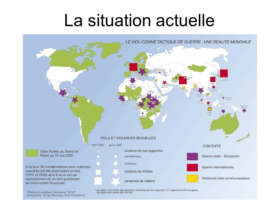Droit international Les textes de droit international : Le viol comme tactique de guerre est reconnu crime de guerre, crime contre lhumanité et instrument de génocide dans les articles 6, 7 et 8 du Statut de Rome, qui a institué la Cour Pénale Internationale en 1998.