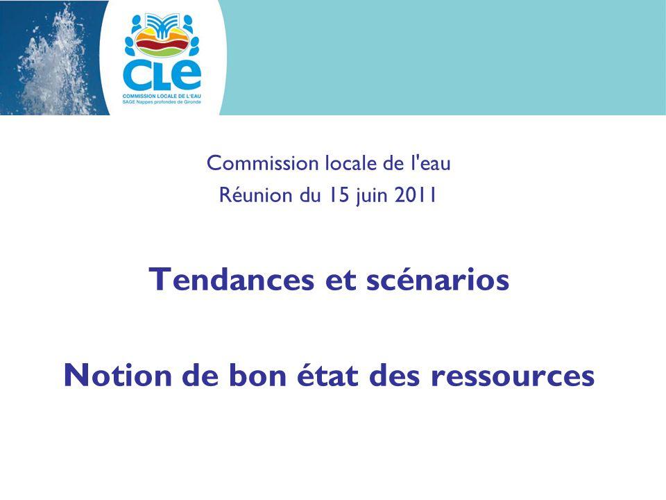 Commission locale de l eau Réunion du 15 juin 2011 Tendances et scénarios Notion de bon état des ressources