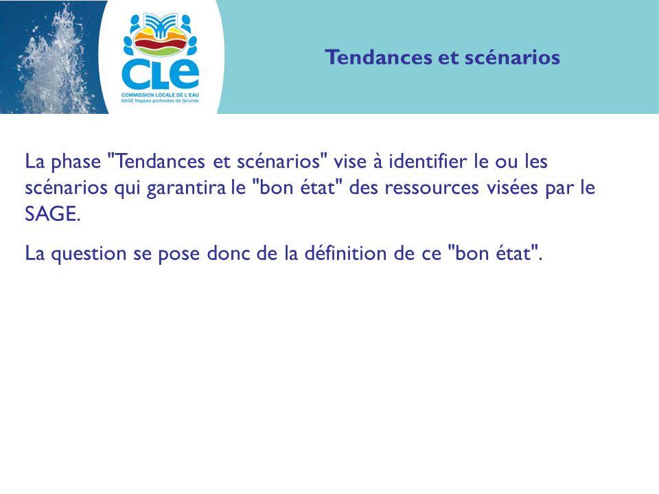 Tendances et scénarios La phase Tendances et scénarios vise à identifier le ou les scénarios qui garantira le bon état des ressources visées par le SAGE.