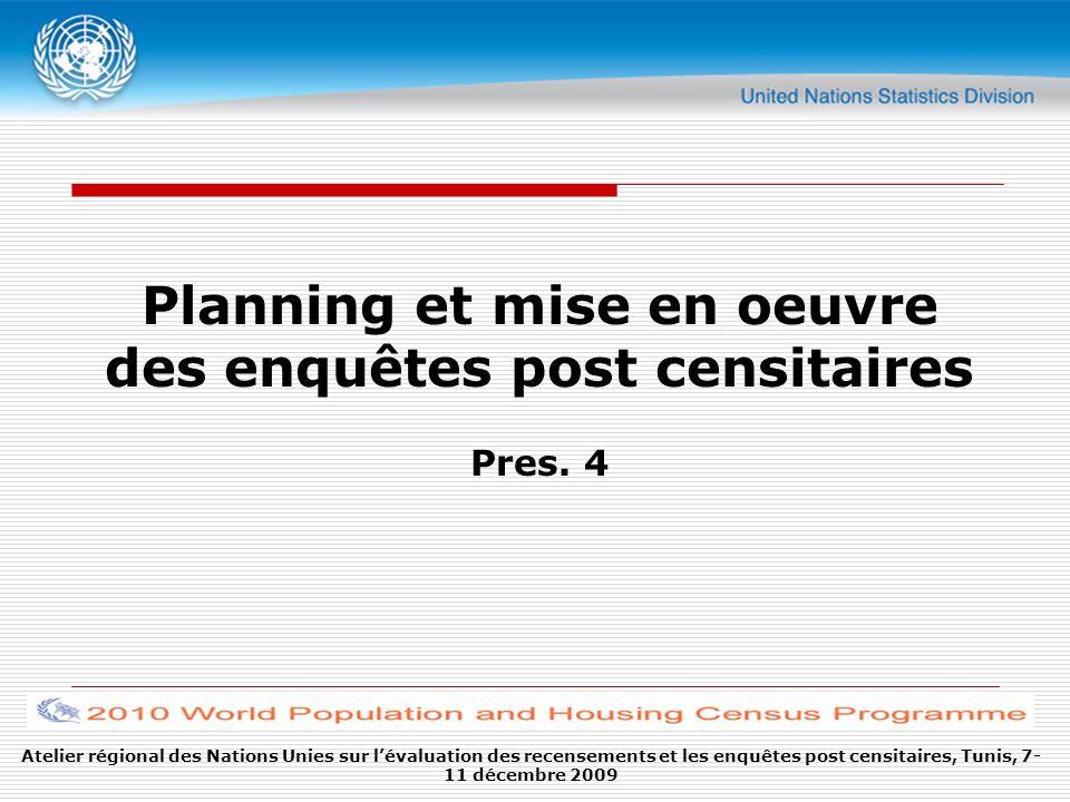 Planning et mise en oeuvre des enquêtes post censitaires Pres. 4 Atelier régional des Nations Unies sur lévaluation des recensements et les enquêtes p