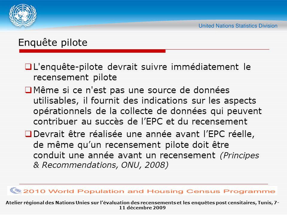 Enquête pilote L'enquête-pilote devrait suivre immédiatement le recensement pilote Même si ce n'est pas une source de données utilisables, il fournit