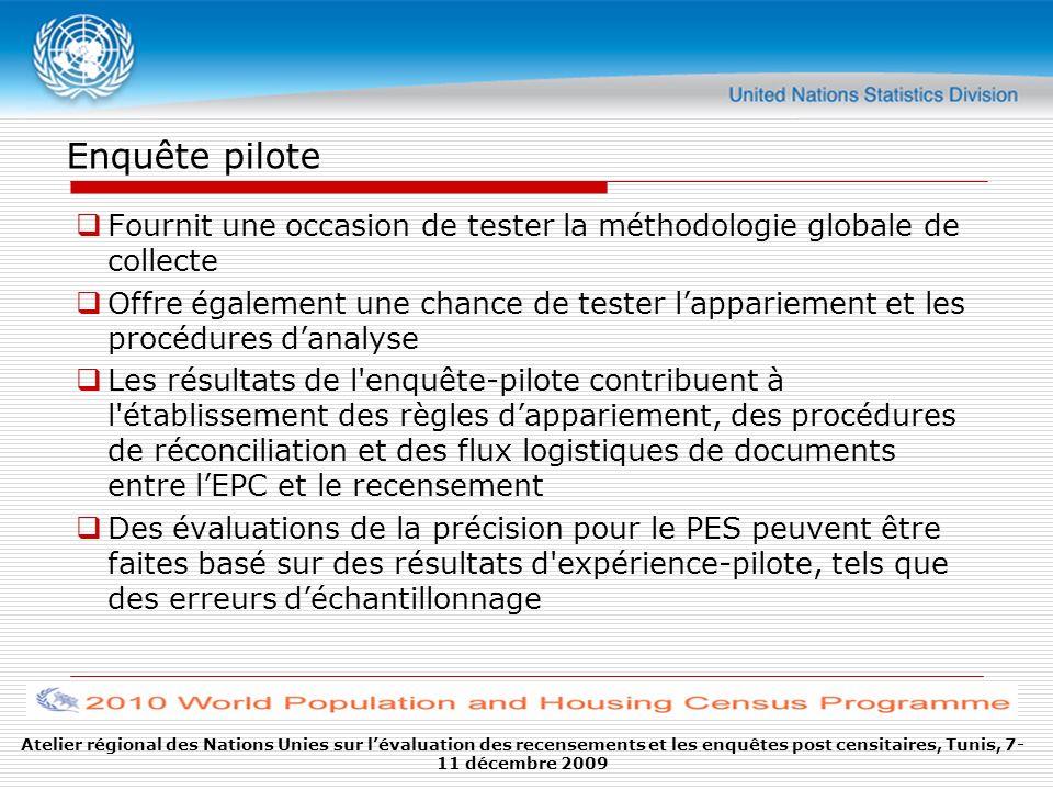 Enquête pilote Fournit une occasion de tester la méthodologie globale de collecte Offre également une chance de tester lappariement et les procédures