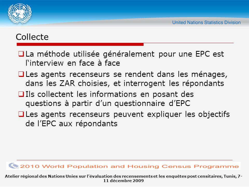 Collecte La méthode utilisée généralement pour une EPC est linterview en face à face Les agents recenseurs se rendent dans les ménages, dans les ZAR c