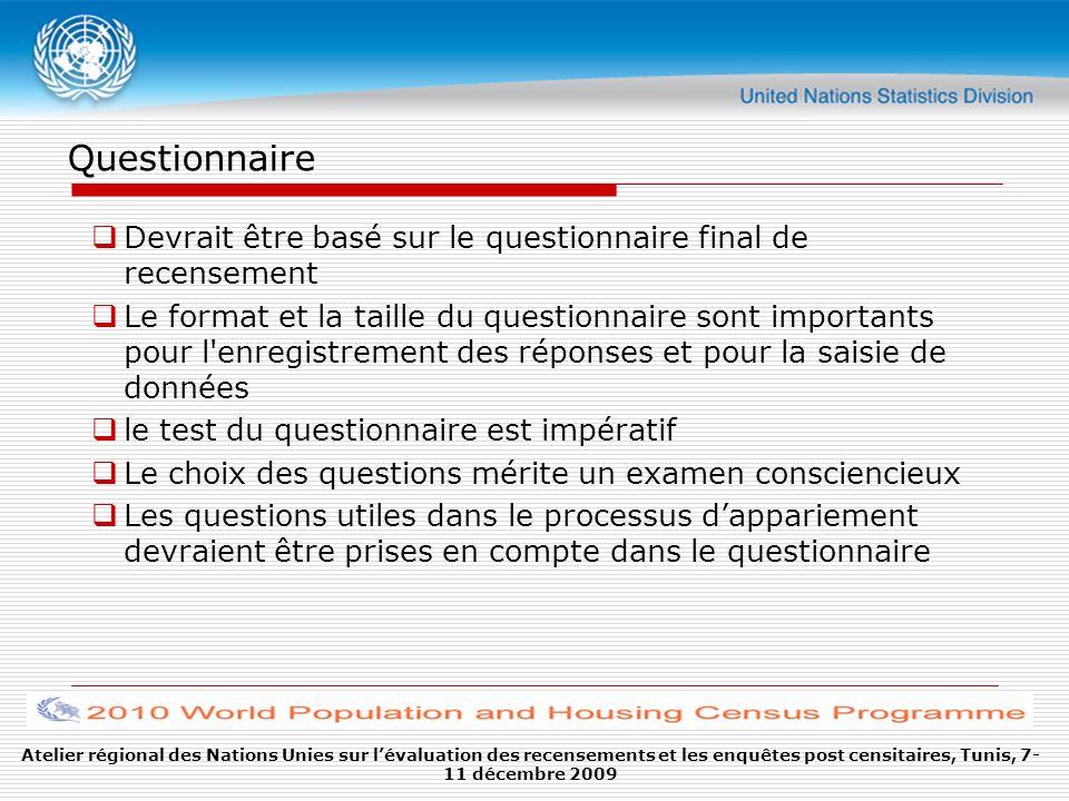 Questionnaire Devrait être basé sur le questionnaire final de recensement Le format et la taille du questionnaire sont importants pour l'enregistremen