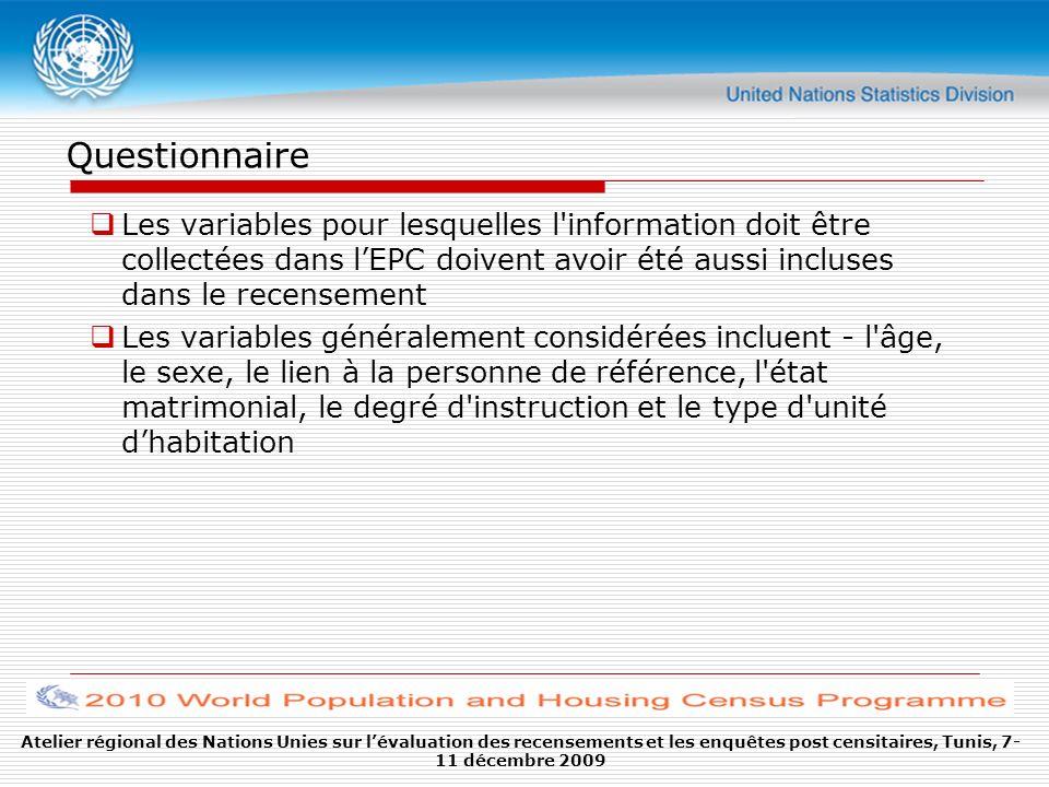 Questionnaire Les variables pour lesquelles l'information doit être collectées dans lEPC doivent avoir été aussi incluses dans le recensement Les vari