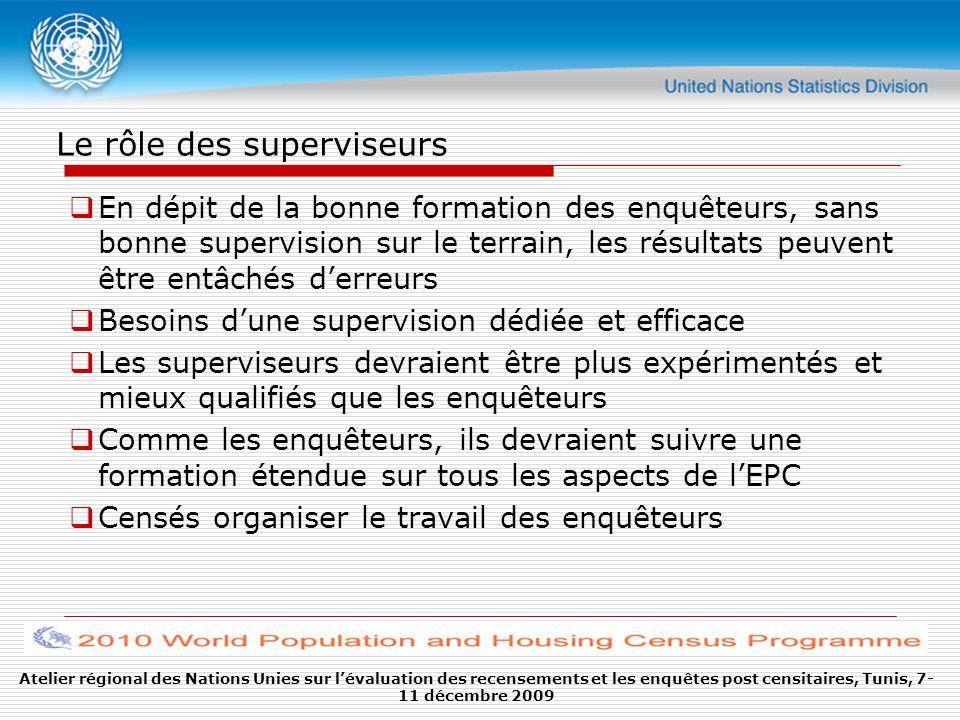 Le rôle des superviseurs En dépit de la bonne formation des enquêteurs, sans bonne supervision sur le terrain, les résultats peuvent être entâchés der