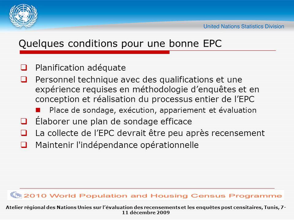 Quelques conditions pour une bonne EPC Assurer la qualité dans toutes les étapes de lEPC, de la planification à lexploitation Le contrôle des erreurs hors échantillonnage est essentiel comme dans tous les autres aperçus, mais à la différence des erreurs déchantillonnage, il est difficile de les mesurer, donc il est préférable de les contrôler Méthodologies et procédures destimation crédibles Atelier régional des Nations Unies sur lévaluation des recensements et les enquêtes post censitaires, Tunis, 7- 11 décembre 2009