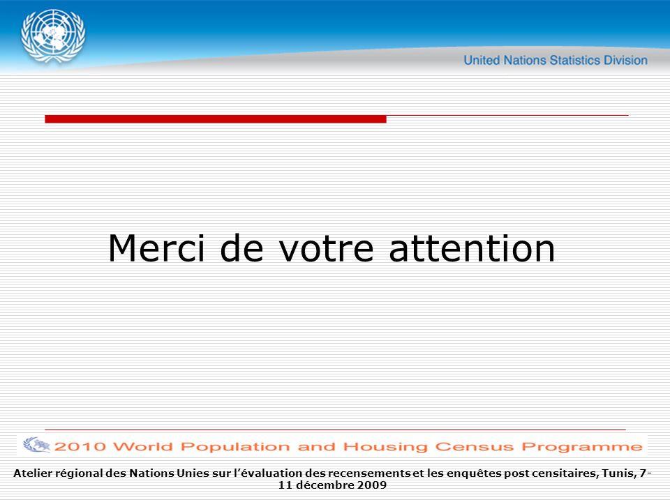 Merci de votre attention Atelier régional des Nations Unies sur lévaluation des recensements et les enquêtes post censitaires, Tunis, 7- 11 décembre 2
