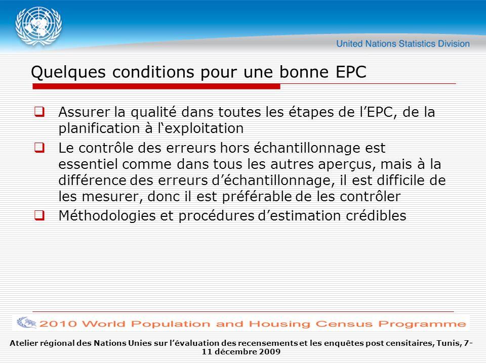 Quelques conditions pour une bonne EPC Assurer la qualité dans toutes les étapes de lEPC, de la planification à lexploitation Le contrôle des erreurs