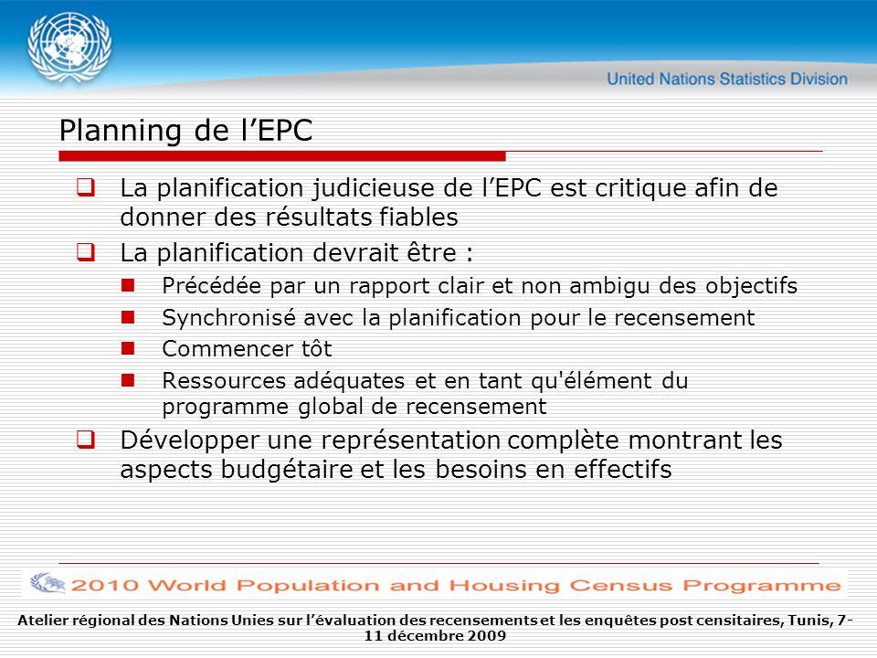 Planning de lEPC Ressources adéquates : Attribution financière : Sans fonds suffisants lEPC serait mal mise en œuvre et ne pourrait donc pas produire de meilleurs résultats que le recensement.