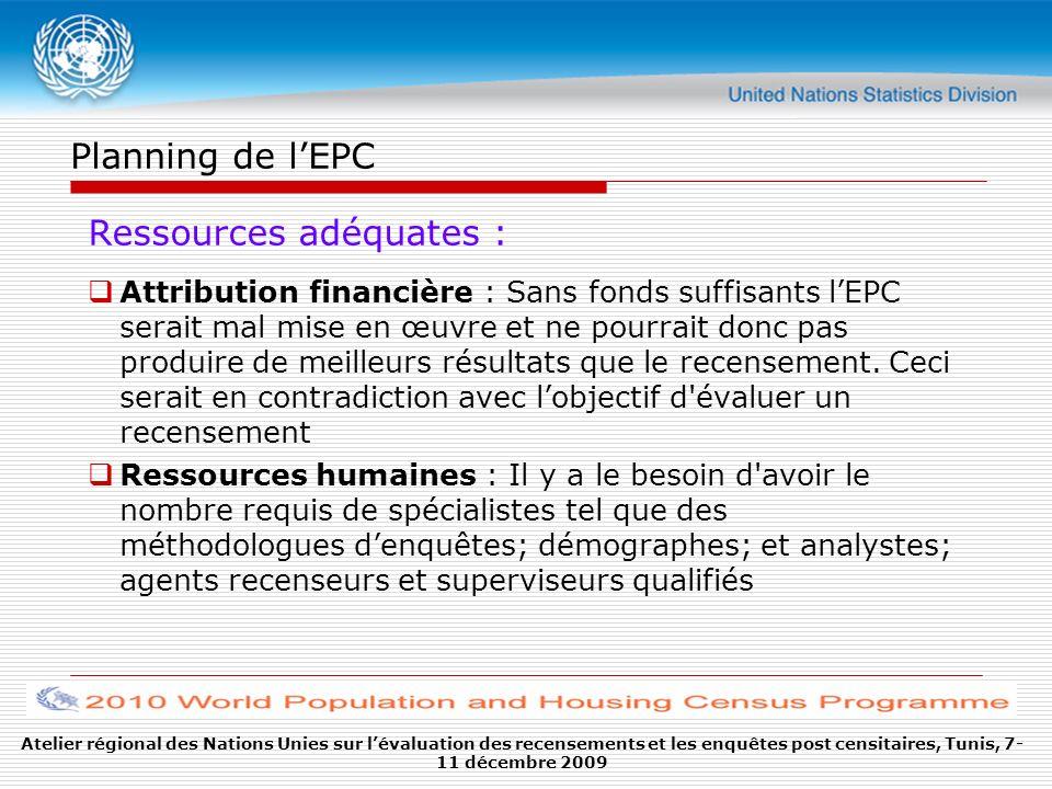 Planning de lEPC Adhésion à la philosophie de lEPC : il est très important d avoir les cadres supérieurs d un bureau statistique / recensement convaincus de lintérêt de l`EPC Établissement d une unité indépendante : Il est recommandé qu une unité indépendante de planification et d exécution de lEPC soit établie.