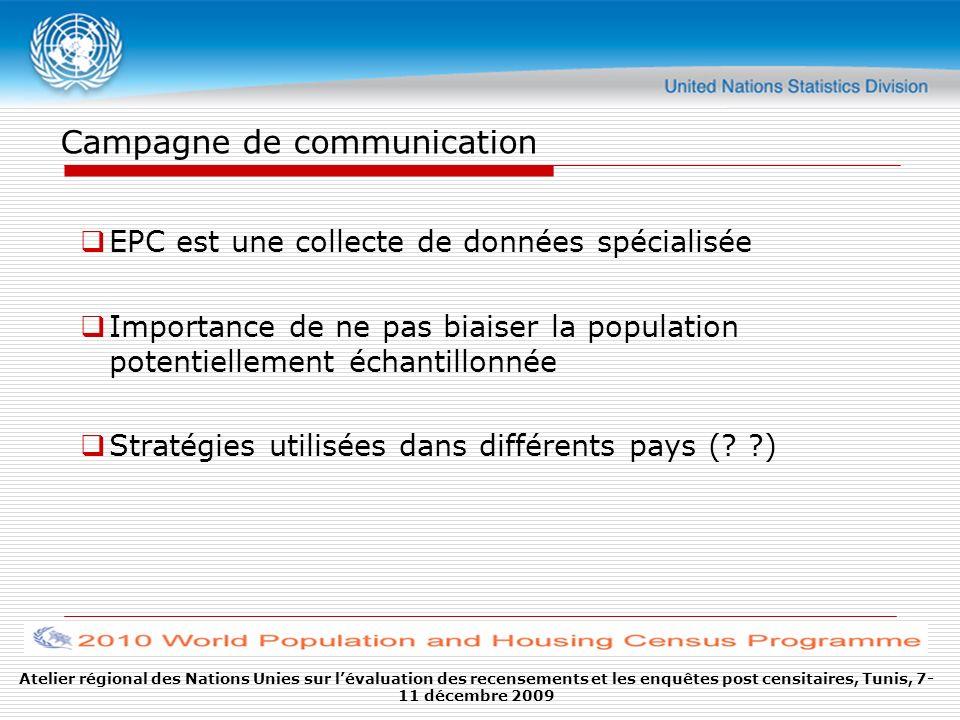 Campagne de communication EPC est une collecte de données spécialisée Importance de ne pas biaiser la population potentiellement échantillonnée Straté