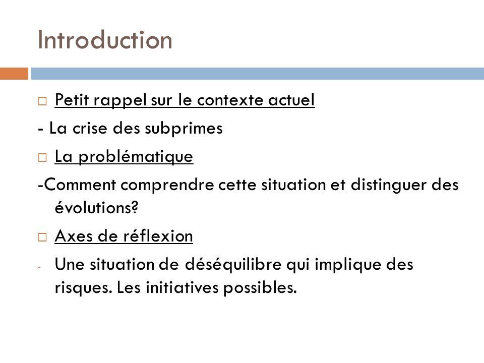 Introduction Petit rappel sur le contexte actuel - La crise des subprimes La problématique -Comment comprendre cette situation et distinguer des évolu