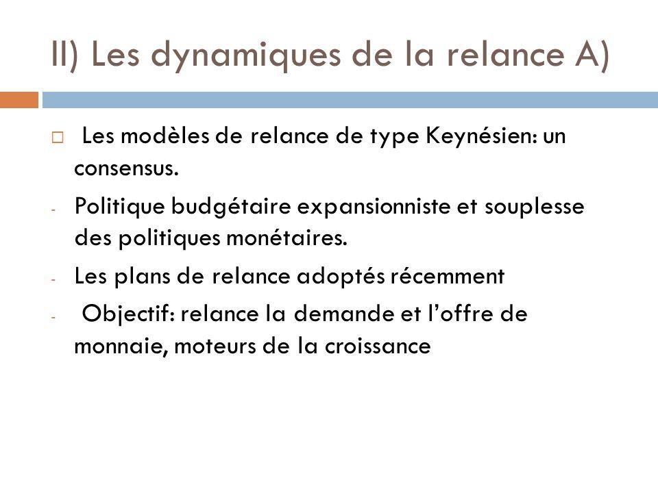 II) Les dynamiques de la relance A) Les modèles de relance de type Keynésien: un consensus. - Politique budgétaire expansionniste et souplesse des pol