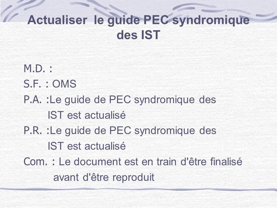 Actualiser le guide PEC syndromique des IST M.D. : S.F. : OMS P.A. : Le guide de PEC syndromique des IST est actualisé P.R. : Le guide de PEC syndromi