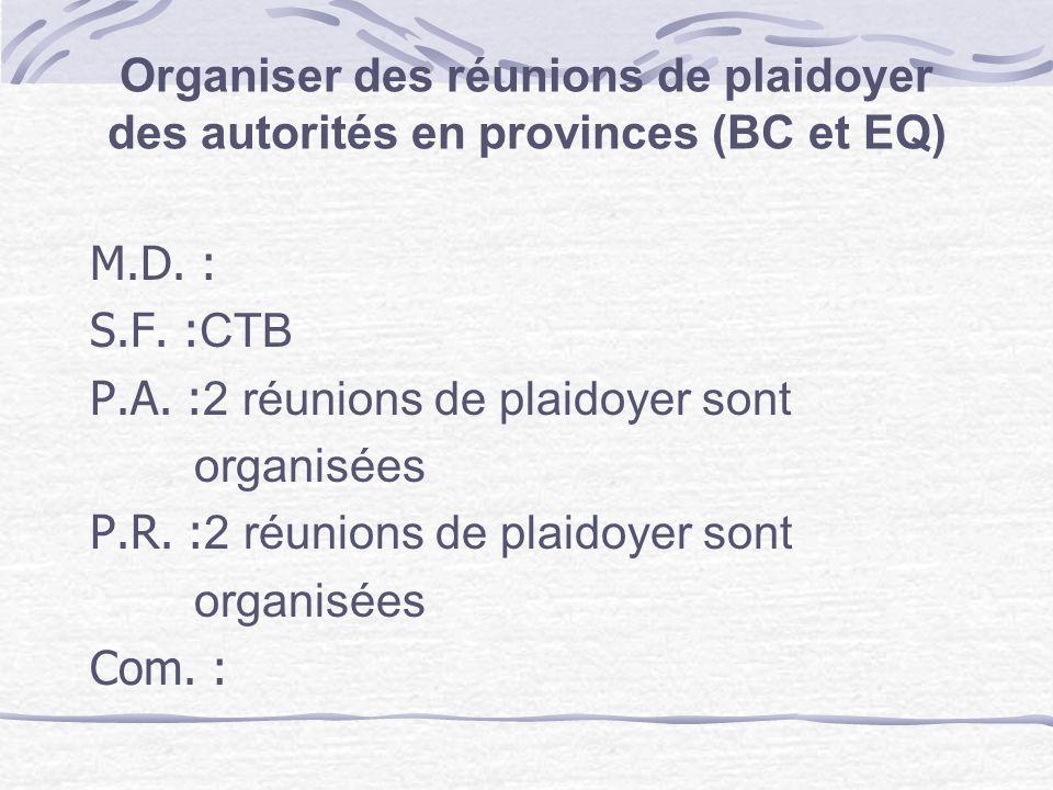 Organiser des réunions de plaidoyer des autorités en provinces (BC et EQ) M.D. : S.F. : CTB P.A. : 2 réunions de plaidoyer sont organisées P.R. : 2 ré