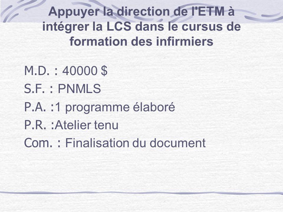 Appuyer la direction de l'ETM à intégrer la LCS dans le cursus de formation des infirmiers M.D. : 40000 $ S.F. : PNMLS P.A. : 1 programme élaboré P.R.