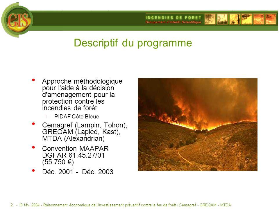 - 10 fév. 2004 -Raisonnement économique de linvestissement préventif contre le feu de forêt / Cemagref - GREQAM - MTDA2 Descriptif du programme Approc