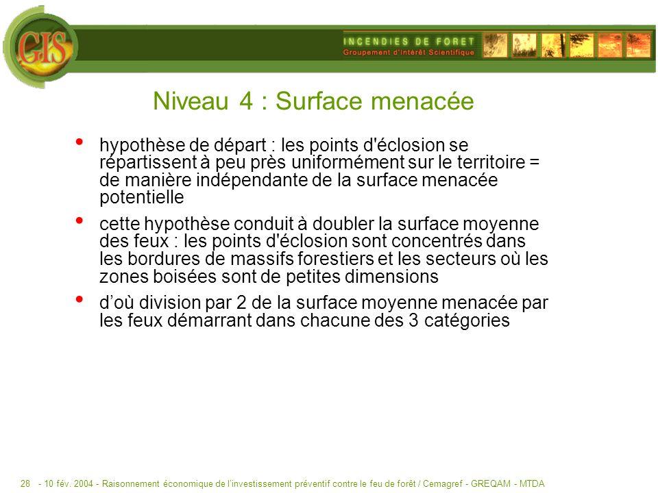 - 10 fév. 2004 -Raisonnement économique de linvestissement préventif contre le feu de forêt / Cemagref - GREQAM - MTDA28 Niveau 4 : Surface menacée hy