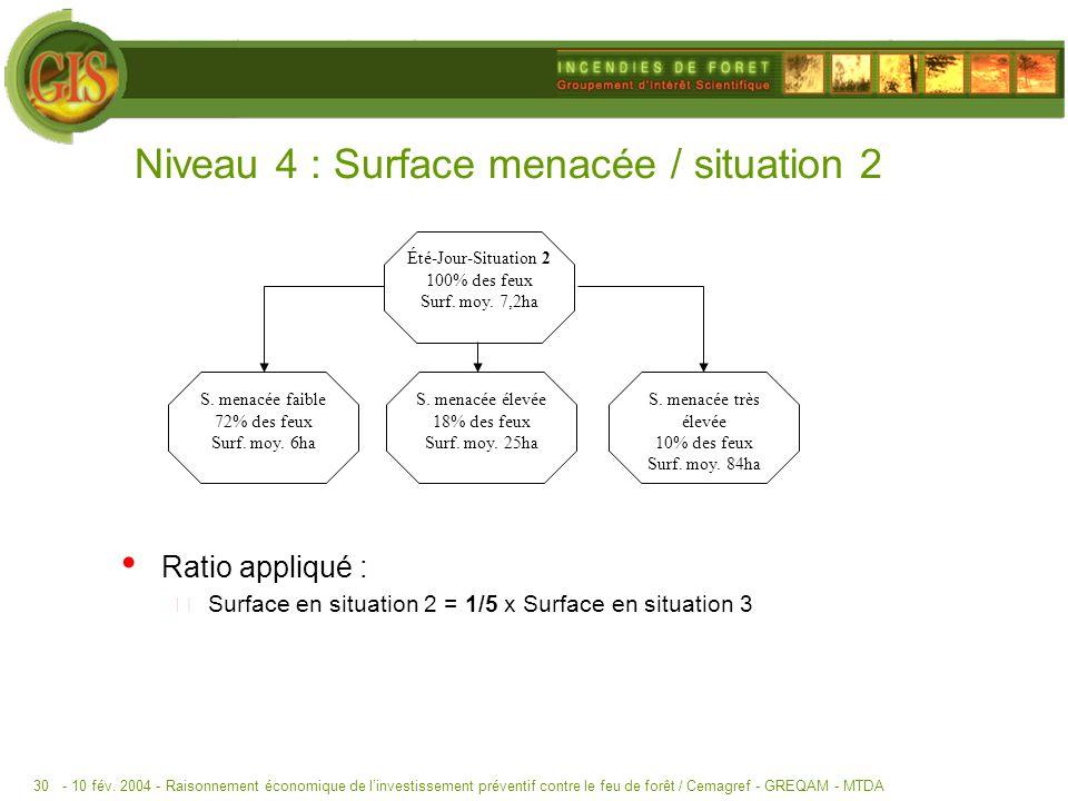 - 10 fév. 2004 -Raisonnement économique de linvestissement préventif contre le feu de forêt / Cemagref - GREQAM - MTDA30 Niveau 4 : Surface menacée /