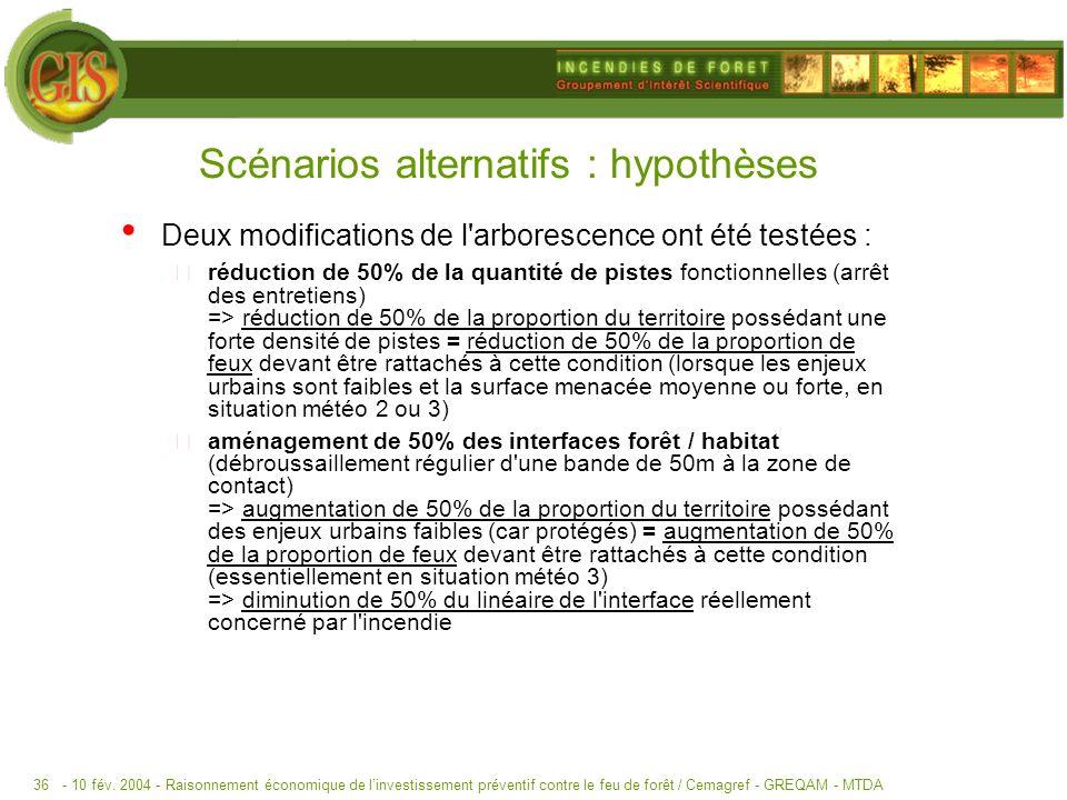 - 10 fév. 2004 -Raisonnement économique de linvestissement préventif contre le feu de forêt / Cemagref - GREQAM - MTDA36 Scénarios alternatifs : hypot