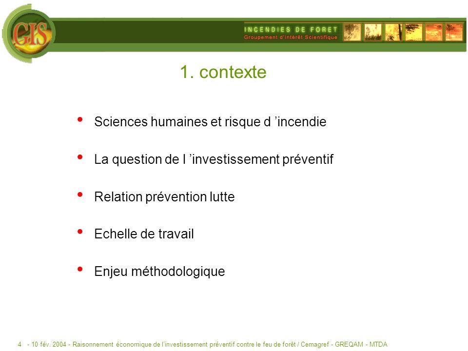 - 10 fév. 2004 -Raisonnement économique de linvestissement préventif contre le feu de forêt / Cemagref - GREQAM - MTDA4 1. contexte Sciences humaines