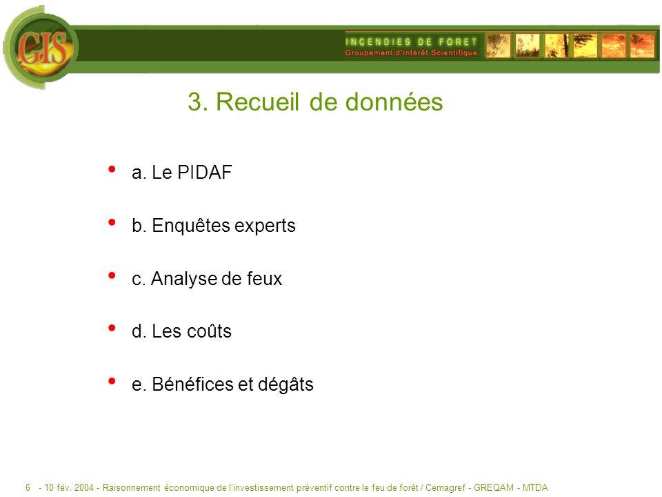 - 10 fév. 2004 -Raisonnement économique de linvestissement préventif contre le feu de forêt / Cemagref - GREQAM - MTDA6 3. Recueil de données a. Le PI