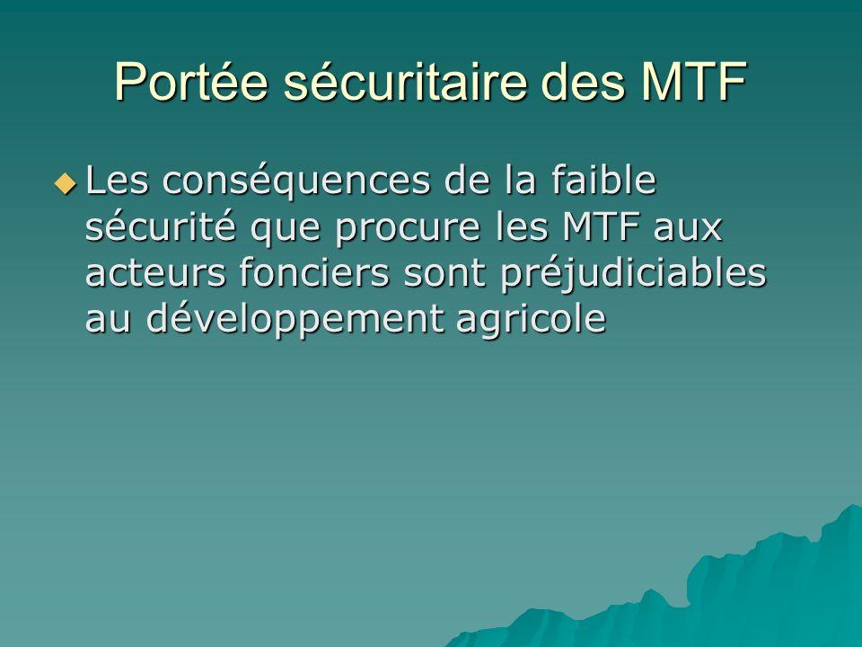 Portée sécuritaire des MTF Les conséquences de la faible sécurité que procure les MTF aux acteurs fonciers sont préjudiciables au développement agricole Les conséquences de la faible sécurité que procure les MTF aux acteurs fonciers sont préjudiciables au développement agricole