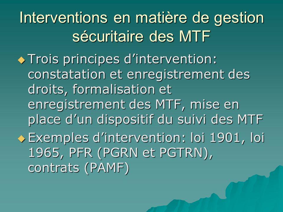 Interventions en matière de gestion sécuritaire des MTF Trois principes dintervention: constatation et enregistrement des droits, formalisation et enregistrement des MTF, mise en place dun dispositif du suivi des MTF Trois principes dintervention: constatation et enregistrement des droits, formalisation et enregistrement des MTF, mise en place dun dispositif du suivi des MTF Exemples dintervention: loi 1901, loi 1965, PFR (PGRN et PGTRN), contrats (PAMF) Exemples dintervention: loi 1901, loi 1965, PFR (PGRN et PGTRN), contrats (PAMF)