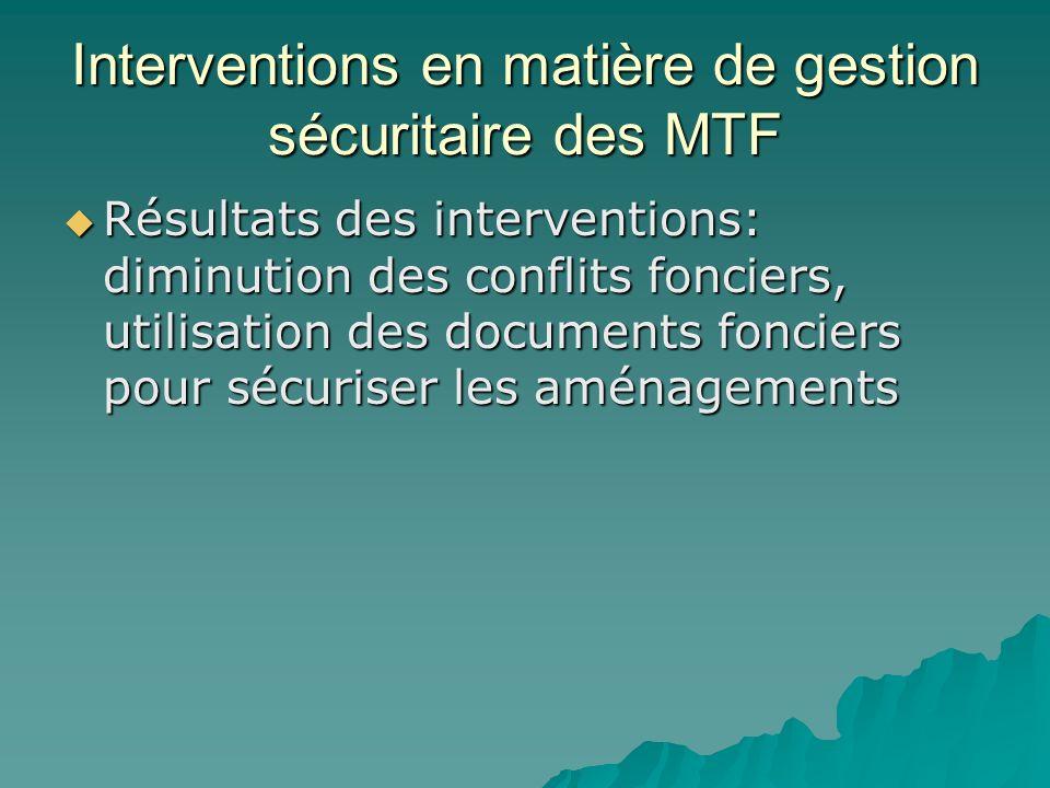 Interventions en matière de gestion sécuritaire des MTF Résultats des interventions: diminution des conflits fonciers, utilisation des documents fonci