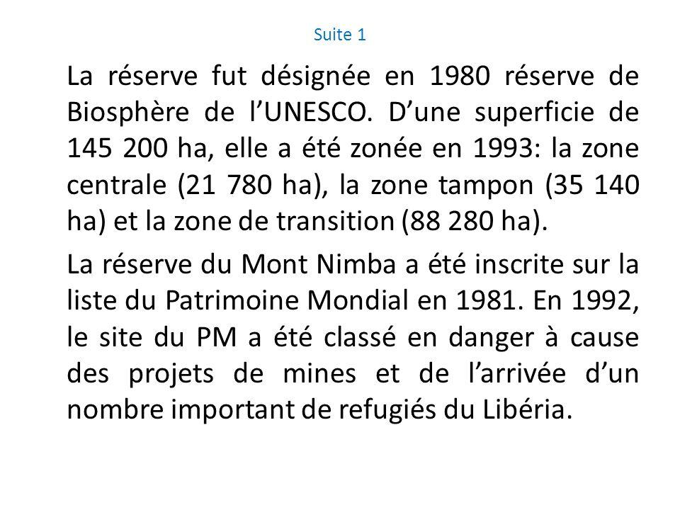 Suite 1 La réserve fut désignée en 1980 réserve de Biosphère de lUNESCO. Dune superficie de 145 200 ha, elle a été zonée en 1993: la zone centrale (21