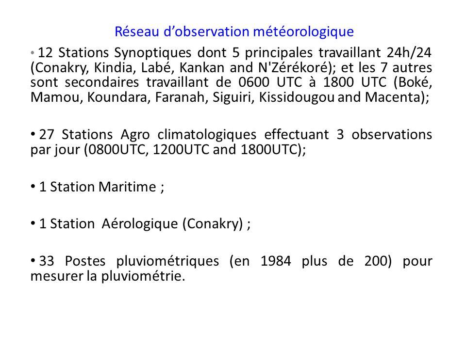 Réseau dobservation météorologique 12 Stations Synoptiques dont 5 principales travaillant 24h/24 (Conakry, Kindia, Labé, Kankan and N'Zérékoré); et le