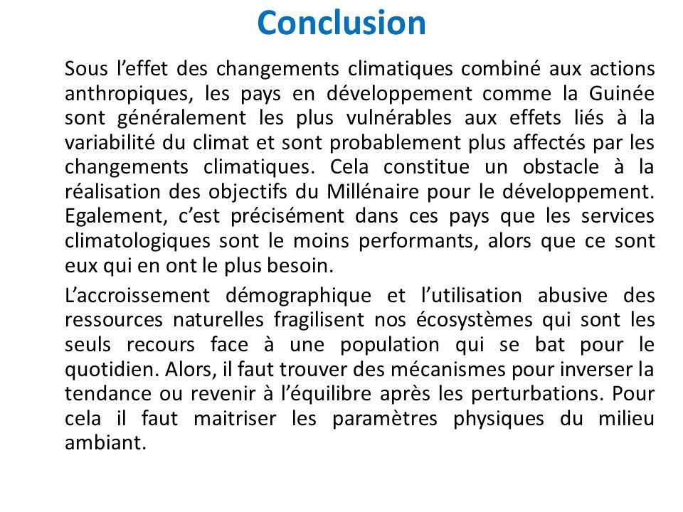 Conclusion Sous leffet des changements climatiques combiné aux actions anthropiques, les pays en développement comme la Guinée sont généralement les p