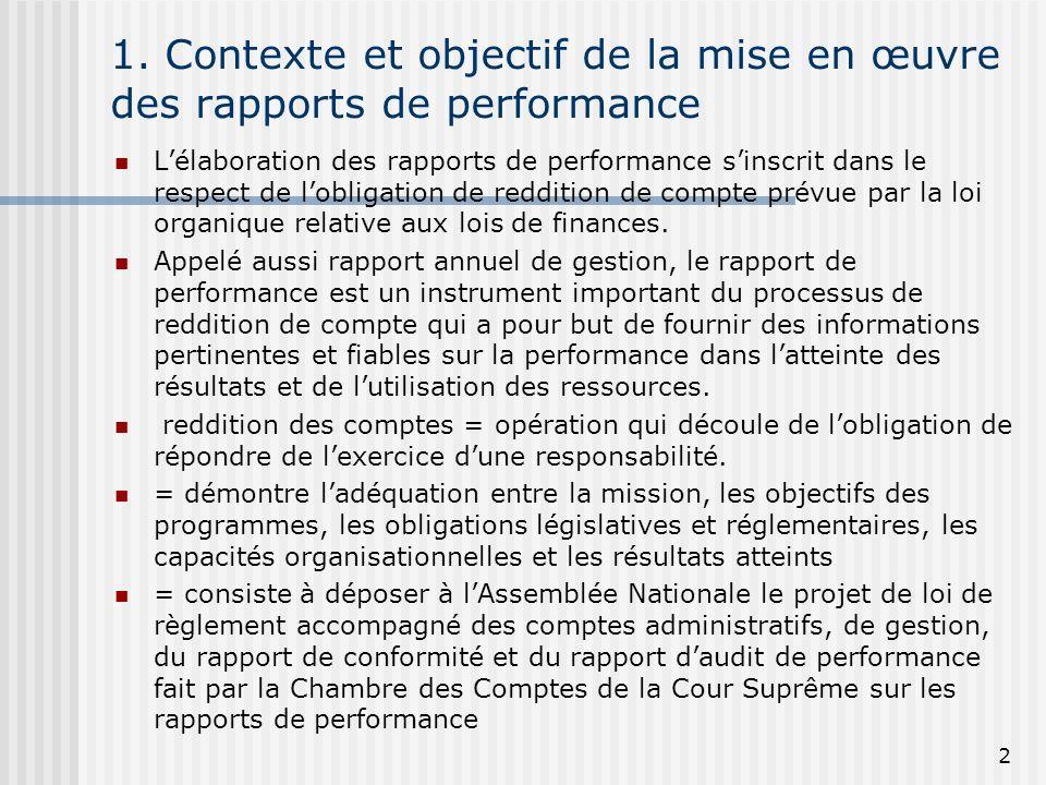 1. Contexte et objectif de la mise en œuvre des rapports de performance Lélaboration des rapports de performance sinscrit dans le respect de lobligati