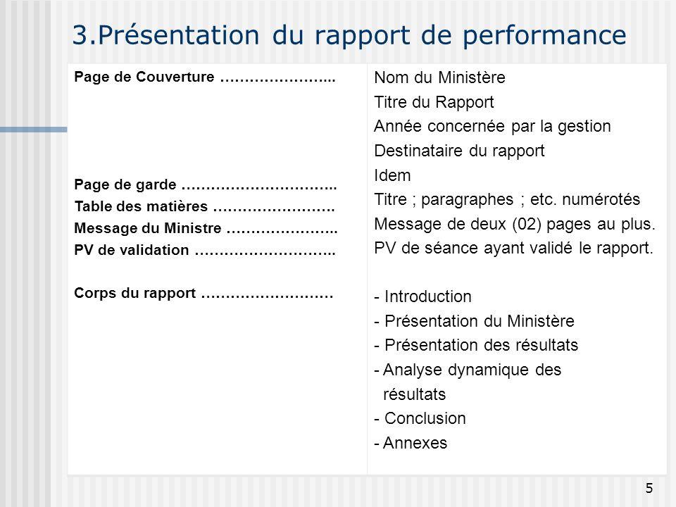 3.Présentation du rapport de performance Page de Couverture …………………... Page de garde ………………………….. Table des matières ……………………. Message du Ministre ………