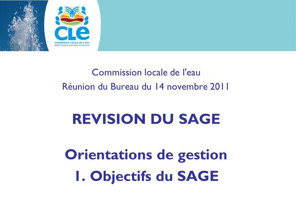 REVISION DU SAGE Orientations de gestion Orientations de gestion : phase qui succède à tendances et scénario ; deux objectifs : arrêter les objectifs du SAGE (VMPO) ; arrêter la stratégie pour atteindre ces objectifs.